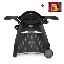 Weber Gasgrill Q 2200 Station, Blackline + gratis Burger-Set