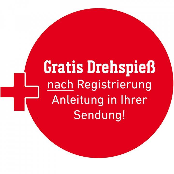 """Berechtigung für gratis Drehspieß """"Nach Registrierung des Grills"""" Anleitung im Paket"""