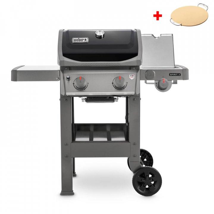 Weber Gasgrill Spirit II E-220 GBS, Black + gratis Pizzastein