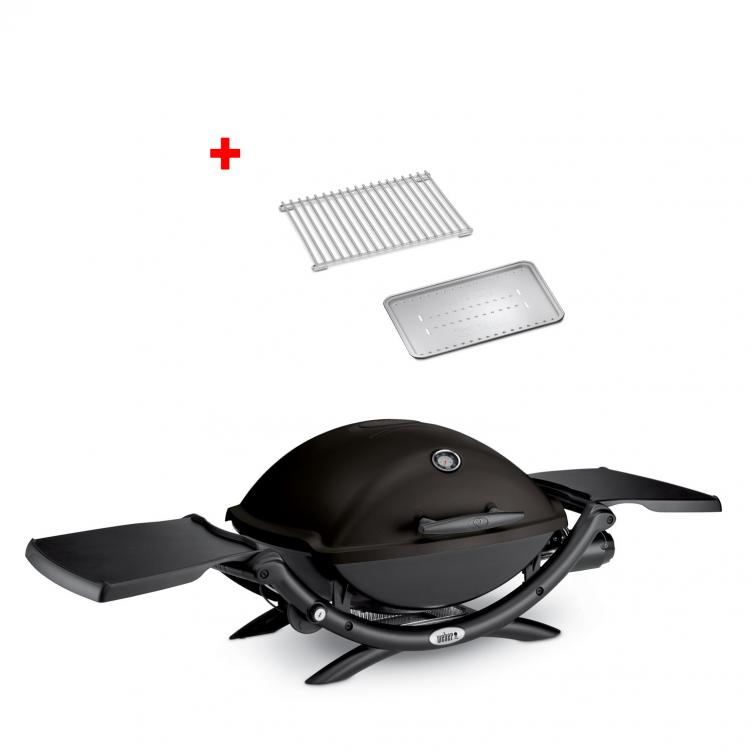 Weber Gasgrill Q 2200, Blackline mit Hitzeschild und Bratenrost