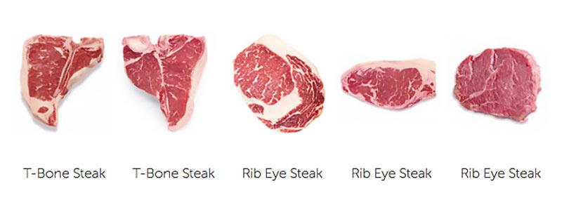 Verschiedene Arten von Steaks
